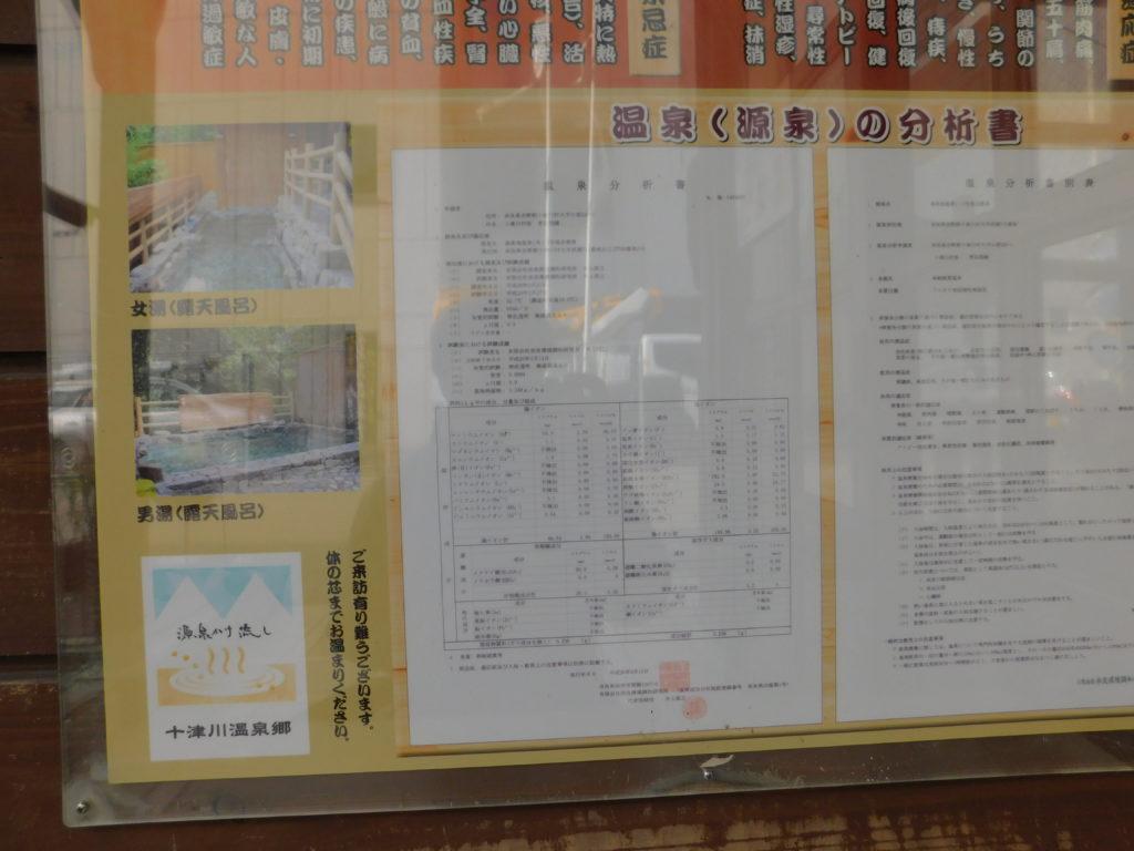 十津川村 温泉地温泉 泉湯 分析表